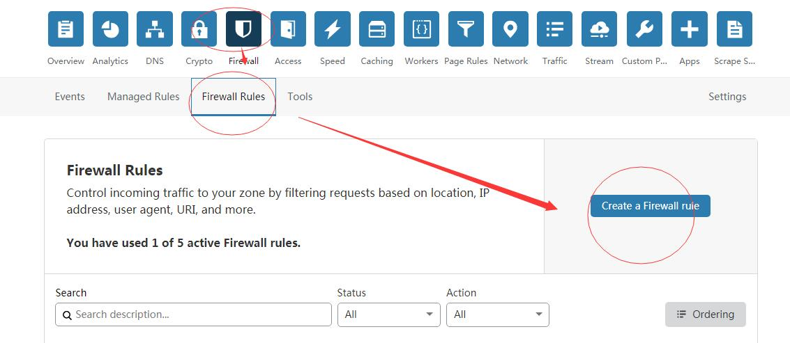 《cloudflare 简单的防火墙规则(Firewall Rules)》